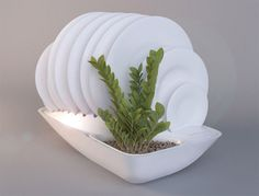 """Fluidity dish rack """"The water that trickles from the washed dishes irrigates the plants."""" Plant Design, Design Studio, Fresh Herbs, Small Plants, Kitchen Decor, Kitchen Herbs, Kitchen Tools, Wooden Bath, Dish Drainers"""