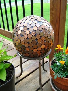How to make a penny bowling ball penny ball yard art and gardens 90 decoration ideas for do it yourself summer mood in the garden solutioingenieria Gallery