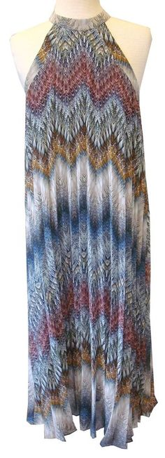 BCBGeneration Accordian Pleat Navy Multicolor Print Halter Neck Dress