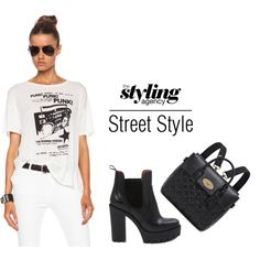 High contrast in #blackandwhite #Boots #backpack #fashionWeek