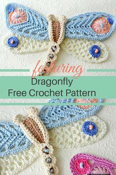 Delightful Crochet Dragonfly Applique Free Pattern