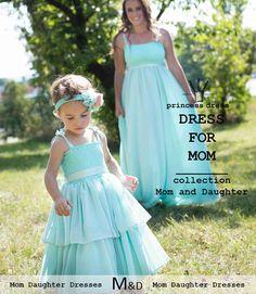 Woman Mint Long Dress BARBARA with wide chiffon skirt suitable for a wedding or ball. Girls Dresses, Flower Girl Dresses, Prom Dresses, Formal Dresses, Wedding Dresses, Mom Dress, Princess Style, Mom Daughter, Chiffon Skirt