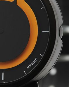Watch Hygge Series 3012  Black and Orange, Leather Strap - Hygge
