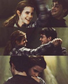This scene is just so beautiful- it shows how much Harry and Hermione are like brothers and sisters, and that they are there for each other when they have no one else, and also that there is just a small moment of carefreeness when darkness is starting to creep in around them :)