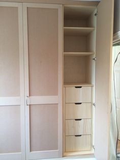 Oak interior of the fitted wardrobe   www.thefittedfurnitureteam.co.uk