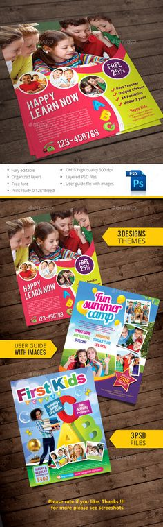 Kids flyer template File Features : Size Letter Bleed area CMYK / 300 dpi Easy to edit text Well organized PSD file 3 Alternative designs Change image via smart objects Model images are not included Free font link boogaloo lobster bebas open-sans poetsen Flyer Template, Brochure Template, Colegio Ideas, Creative Flyers, Promotional Flyers, Flyer Printing, Kids Education, Education City, Education Center