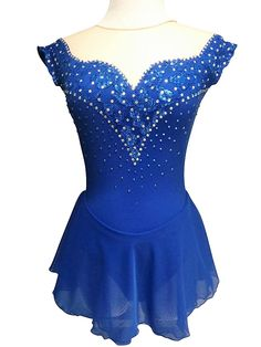 This custom sapphire blue figure skating dress by Sk8 Gr8 Designs is accented with metallic lace and sapphire and crystal AB Swarovski rhinestones. Visit http://www.sk8gr8design.com to see more custom figure skating dresses.