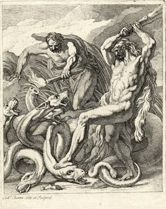 Print made by Louis Chéron  Print made by Gerard van der Gucht  1690-1725  Hercules, with raised club and wearing his lion skin, fighting the Lernaean hydra; a companion cauterizes a head with a burning torch.