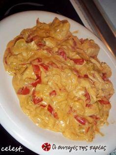 Κοτόπουλο με γιαούρτι και πιπεριές, 3 φιλέτα κοτόπουλου, κρεμμύδι, πιπεριές, λάδι, λευκό κρασί, πάπρικα, γιαούρτι