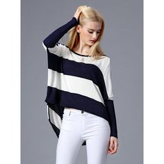 Navy And White Stripe Batwing Long Sleeve Dipped Hem Jumper (533.865 VND) ❤ liked on Polyvore featuring tops, sweaters, stripe top, batwing top, long jumper, round top and long sleeve jumper