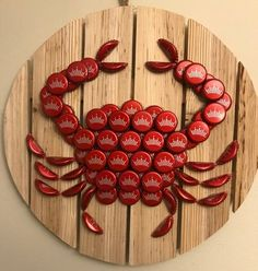 Best 12 Budweiser beer cap crab on a round wood plaque. Crab is handmade. Check out my other listings if you're looking for a different designs or a crab made out of a specific beer. Beer Cap Art, Beer Bottle Caps, Beer Caps, Beer Cap Crafts, Wine Cork Crafts, Craft Beer, Beer Bottle Top Crafts, Seashell Crafts, Beach Crafts