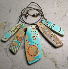These pieces are awesome! - free tutorial to produce this wonderful Mohave Stick Necklace - on sculpey.com