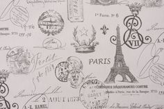 Premier Prints French Stamp Twill Printed Cotton Drapery Fabric in Sherbet Gray