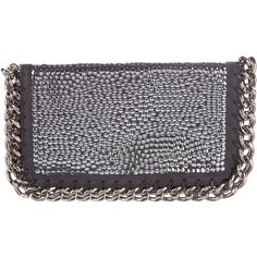 Pre-owned Stella McCartney Falabella Embellished Clutch (995 CAD) ❤ liked on Polyvore featuring bags, handbags, clutches, grey, embellished purse, zipper purse, gray handbags, zip purse and grey purse