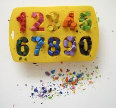 Recycle those broken crayons by baking them into new ones using a silicone mold. You can make numbers, lett...