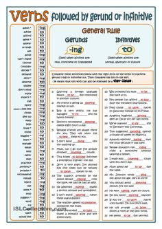 VERBS FOLLOWED BY GERUND OR INFINITIVE