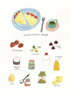 things to draw Cute Illustration, Watercolor Illustration, Strawberry Crepes, Recipe Drawing, Chibi Kawaii, Food Doodles, Food Sketch, Little Doodles, Food Journal