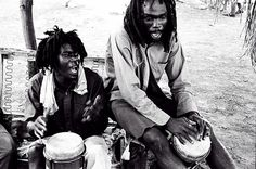 Rastafarian Nyabingi drummers,Bull Bay, Jamaica,1979.