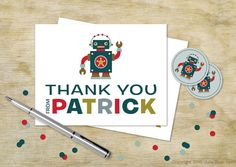 Robot Birthday Personalized Thank You Cards, Teal Robot Party Thank You Cards for Kids
