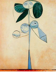 """ahoradote: """" Pablo Picasso, La Femme Fleur, 1946 """" thomas scheibitz comes to mind. Pablo Picasso, Picasso Art, Francoise Gilot, Starry Night Art, Cubist Movement, Georges Braque, Portraits, Art World, Art Images"""