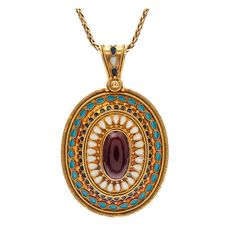1stdibs - Very Fine Early Victorian Garnet and Enamel Yellow Gold Locket explore items from 1,700  global dealers at 1stdibs.com