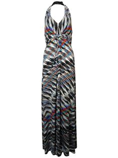 Jessica Simpson Women's Faux Knit Striped Halter Jersey Dress