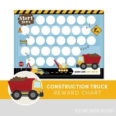 Kids Reward Chart  Construction Truck  Habit Tracker