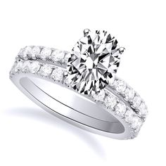 1.70 CT D/VVS1 OVAL CUT PAVE DIAMOND ENGAGEMENT BRIDAL SET 14k WHITE  GOLD #Affinityhomeshopping #Bridal
