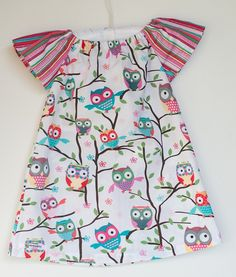 Girls Peasant Dress Size 3 - Colourful Owl Design - by HandmadebyWhint on madeit