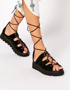 Image 1 of ASOS FLATTEN Suede Lace Up Sandals