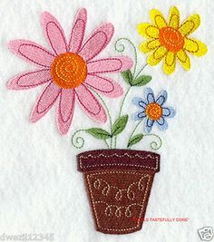 ADORABLE DOODLE FLOWER POT - 2 EMBROIDERED HAND TOWELS by Susan