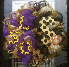 Saints and LSU House Divided deco mesh Wreath. $95.00, via Etsy.