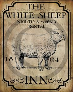 Primitive Colonial White Sheep Inn Tavern Sign by Starrmtnprims