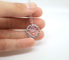 Silver Circle necklace Silver Hamsa necklace Sterling by AiryLoft, $26.00