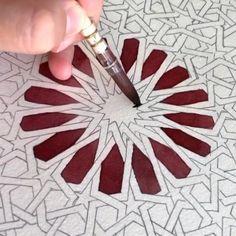 Pattern by Polina Bright : Using Polina Bright watercolour synthetic brush Mandala Art, Mandala Drawing, Islamic Art Pattern, Pattern Art, Arabic Pattern, Art Patterns, Geometric Drawing, Geometric Art, Motifs Islamiques