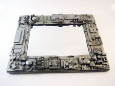 Techie steampunk mirror. Unique gift. Recycled upcycled repurposed computers. Geeks nerds guys. Office desk cubicle. Computer parts geekery.