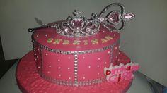 Princess tiara theme cake covered with milk fondant