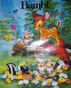 Vintage Walt Disney BAMBI POSTER 1986 New/Old Stock 22x28