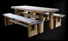 Nordmannsheim carved table/benches.