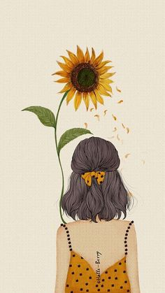 Trendy Ideas For Hair Art Illustration Artworks Art And Illustration, Illustrations, Sunflower Illustration, Art Sketches, Art Drawings, Pencil Drawings, Sunflower Drawing, Sunflower Flower, Alberto Giacometti