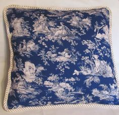French Country Romantic Cottage Pillow Blue by TsEclecticTreasures