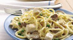 Chicken Tetrazzini with Peas #Recipe... Deli rotisserie chicken accelerates preparation of a classic casserole full of fabulous flavor.