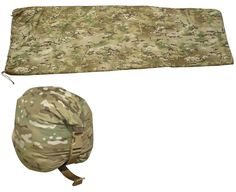 """The NEW ICE PONCHO LINER PLUS. It features a zipper sewn to the perimeter to facilitate use as a sleeping bag, The Poncho Liner can also be opened flat for use as a blanket. 3 oz. Climashield Combat Insulation •Full length two-way zipper opens flat. •Adjustable shockcord collar. •Includes roll-top compression stuff sack. •Measures 84"""" long, 61"""" wide at the top. 48"""" wide at the foot."""