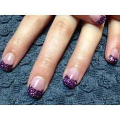 2tone purple, purple, sparkle acrylic tips for prom