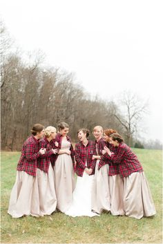 Wintery wedding bridesmaids with Flannel Shirts