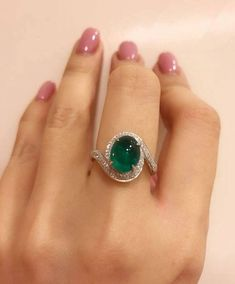 Vivid green oval cabochon emerald and diamond ring , the color is really pretty . - Fine Jewellry designed by KY rings aesthetic decorations Emerald Jewelry, Diamond Jewelry, Jewelry Rings, Jewelry Accessories, Fine Jewelry, Jewelry Design, Jewellery, Emerald Rings, Black Jewelry