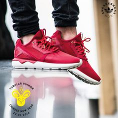 The Adidas Tubular Runner is back in a special Year of the Monkey edition. This completely red edition is made out premium leather and mesh on a crisp white sole. A special design is placed on the back to celebrate the Chinese year of the monkey.