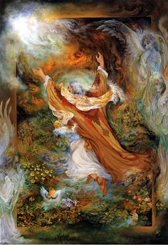 Iran Politics Club: Mahmoud Farshchian Online Gallery Persian Miniature Paintings - Ahreeman X Josephine Wall, Fantasy Paintings, Fantasy Art, Iranian Art, Goddess Art, Online Gallery, Islamic Art, Illustration Art, Drawings