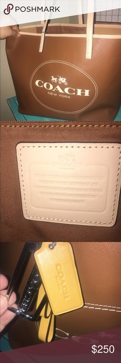 Authentic Coach Tote Huge authentic leather Coach Tote. Only used a few times. It's amazing but I need to de stash my purses. No flaws. Coach Bags Totes