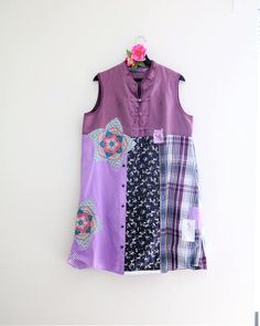 Upcycled dress Japanese style clothing  Purple dress floral